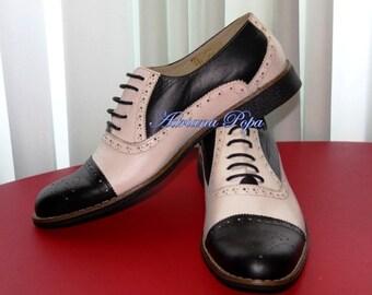 Men Brogues , Men Oxford shoes ,  Black & White  Men shoes , Vintage Leather Men Oxfords Brogues ,  1920 men shoes