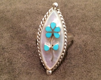 Vintage Sterling Silver Turquoise Flower Mother of Pearl Women's size 6