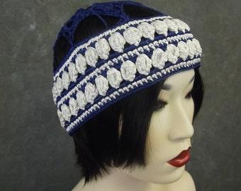 Crochet Cap,Accessory,Hats,Women,Men,Children,Blue Skullcap,