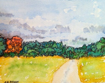 Landscape Painting: Road with Red Tree by Nan Henke 5x7 original watercolor with Pen & Ink matted to 8x10