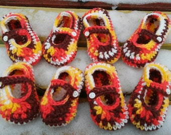 Thanksgiving/Fall Crocheted Baby Booties - Four Sizes Available