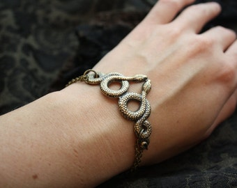 Bracelet Snake Snakes Egyptian Cleopatra Brass Antiqued Gold  Victorian Gothic Creepy