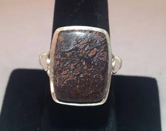 Dinosaur bone ring set in sterling silver - free shipping - men's ring - size 9 - turningleafjewleryco - silver jewlery - yoga jewelry