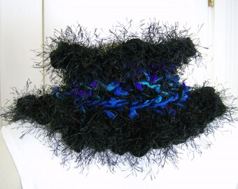 Black Blue Ruffled Collar Scarf Neck Warmer Multicolor Victorian Inspired