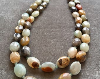 Double strand long agate necklace with sterling silver beads, fossil coral and silver plated chain
