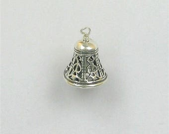 Sterling Silver 3-D Movable Filigree Bell Charm