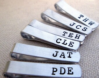 Groomsmen Set of 8 -Personalized Men's Skinny Tie Bar - Monogramed Tie Clip - Aluminum Tie Bar -