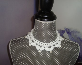 Wedding necklace Choker necklace Choker in white cotton with pearl beads and rhinestones - wedding