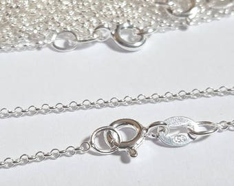"""Pack of 10, sterling silver 925, 18"""" with 1mm rolo links finished pendant chains [our ref: 13-0041]"""