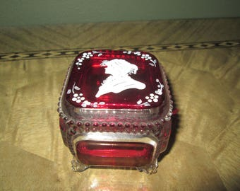 Westmoreland Hand Painted Cameo Signed Footed Trinket Jewelry Vanity Box
