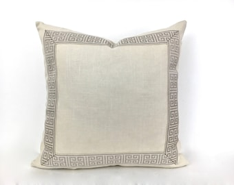 Ivory Linen Pillow Cover with Tan and White Greek Key Trim