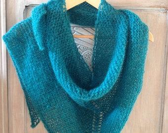 Trendy shawl blue green Alpaca