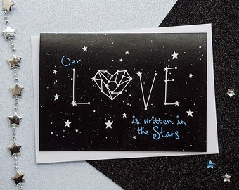 LOVE Constellation Card   Space Anniversary Card, Romantic Card, Stars Anniversary Card, Constellation Cards   Cards for Her, Cards for Him