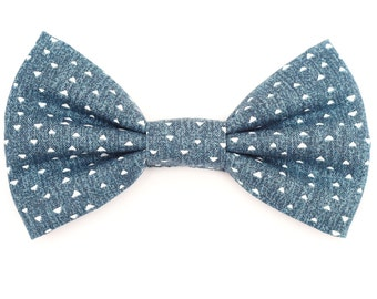 The Hegeman Bow Tie — Dog Bowtie, Brooklyn Bowtied, Denim, Chambray, Geometric, Graphic, Triangles, Hip, Hipster