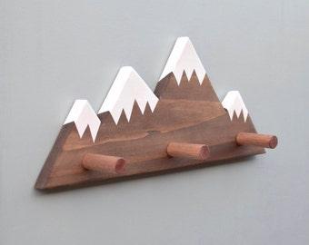 Mountain Peak Wallhooks, Woodland Nursery Decor, Woodland Decor, Mountain Wall Hook, Wooden Wall Hook for Kids, Baby Shower Gift