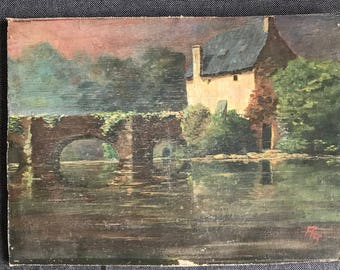 Little original antique painting of a bridge and French antique scene signed 1930's