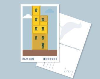 Milan Icons Postcard > Haunted House, Largo Isarco, Milan