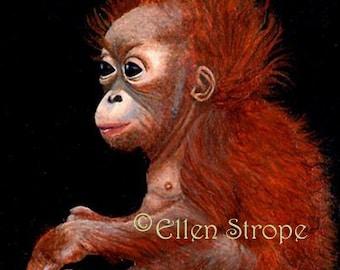 PRINTS, Orangutans, Giclee Prints, Monkeys, Wildlife, Ellen Strope, Orangutan decor, Monkey decor