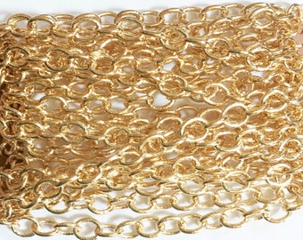 10f Light Gold plated brass round cable chain 4X5mm, bulk gold chain