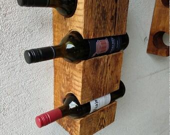 Barn Old wood Wall wine rack for three bottles.