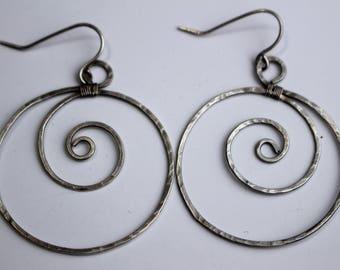 Looping Swirls Silver Earrings