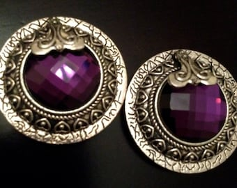 """PAIR Beautiful Large Round Purple Crystal Silver Plugs Gauges 5/8"""" - 16mm 11/16"""" - 18mm 3/4"""" - 19mm 7/8"""" - 22mm 1"""" - 25mm"""