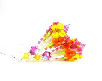 Colorful Floral Earrings, Botanical Earrings, Pink Orange Yellow Earrings, Lampwork Earrings, Nature Jewelry, Flower Earrings - Leslie