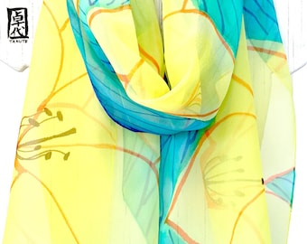 Silk Scarf Hand Painted, Silk Painting Art Scarf, Silk Chiffon Scarf, Blue, Green and Yellow Lily Garden, 14x72 inches, Made to order