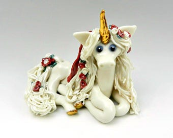 Unicorn Figurine Red Roses OOAK Porcelain Clay