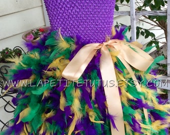 Mardi gras tutu dress, mardi gras full feather dress, flower girl dress, flower tutu, pageant dress, girls dress, baby dress, girls clothing