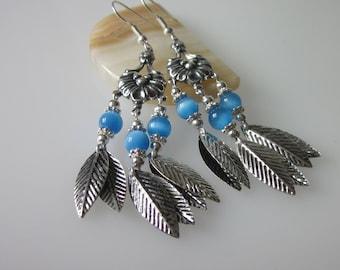 Gypsy Earrings, Bohemian Gypsy, Antiqued Silver Leaf Earrings, Boho Chandelier Earrings, Blue and Silver, Fiber Optic, Cat Eye Earrings