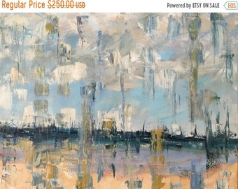 ON SALE Beach, Abstract, seascape, oil painting, 20x28 inch stretched canvas, blue, fine art and collectibles, wall candy