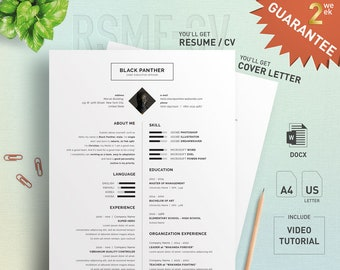 Proffesional Resume CV Design Template with Cover Letter - for Microsoft Word - Special Offer : Design Formating Service - CVCL-004-EG