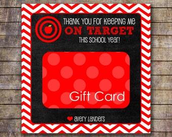 Printable On Target Teacher Appreciation Gift Card Holder