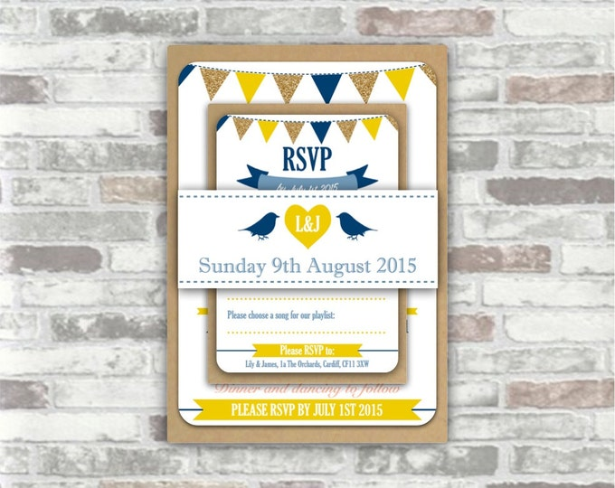 PRINTABLE Print your own personalised WEDDING invitation BUNDLE - digital files - bunting, birds, heart, navy blue yellow gold diy