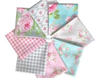 CHARLOTTE Tanya Whelan, Fat Quarter Bundle, Free Spirit Fabrics, Shabby Chic Quilt, Baby Girl Nursery, Quilting, Cotton, Pink Floral, 8 FQs