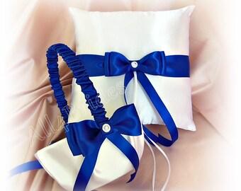 Wedding Ring Pillow and Basket - Royal Blue Horizon Blue  Ring Bearer Pillow  Flower Girl Basket Wedding Accessories