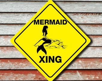 """MERMAID CROSSING Funny Novelty Xing Sign 12""""x12"""""""
