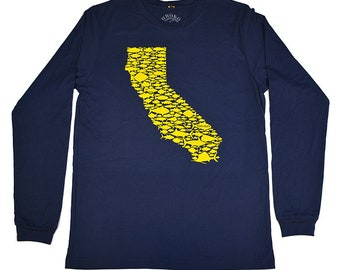 CALIFORNIA FISH LOVE - Navy - Long Sleeve Tee - Gold - Salmon - Bill Fish - Sea Bass - Trout - Rock Fish - Tuna - Golden State - by uroko