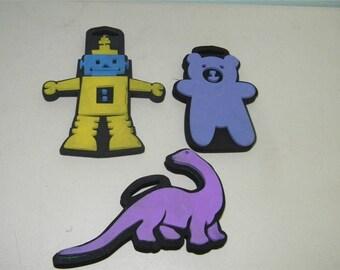 3 Foam Stamps Stamp Robot Teddy Bear Dinosaur 11612