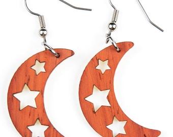 Moon Shape and Stars, Laser Cut, Wood Earrings