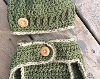 Crochet baby outift, green diaper cover and hat set, green hat set, olive green diaper cover, green diaper cover and hat, baby photo props