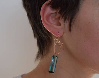 IRIS praisiolite and bronze earrings