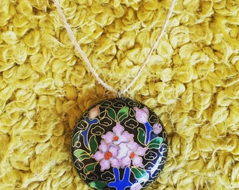 Cloisonne Floral Puffy Pendant or Focal Bead