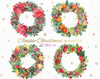 Christmas clipart. Watercolor Wreaths. Christmas Wreaths Clipart. Digital Wreaths. Wreath Clipart. Wreath Graphics. Holiday