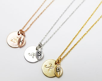 Circle and Leaf Necklace Tiny Charm Necklace Personalized Jewelry Circle initial Necklace Letters Necklace