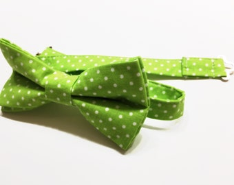 Green with white polka-dots.