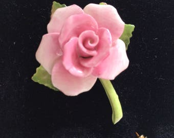 Beautiful Bone China Pink Rose Lapel Pin/Porcelain Floral Brooch.