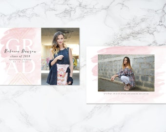 Printable Double Sided Watercolor Geometric Faux Foil  Modern Photo Card Graduation Invitation or Announcement