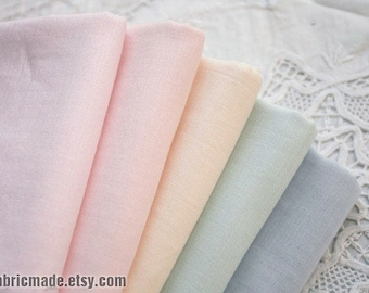 A Fat Quarter- Pastel Gauze Cotton Fabric, Light Blue Pink Green Ivory Double Layers Gauze for Baby